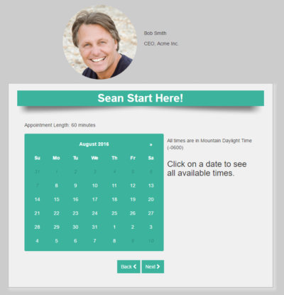 appointment landing page
