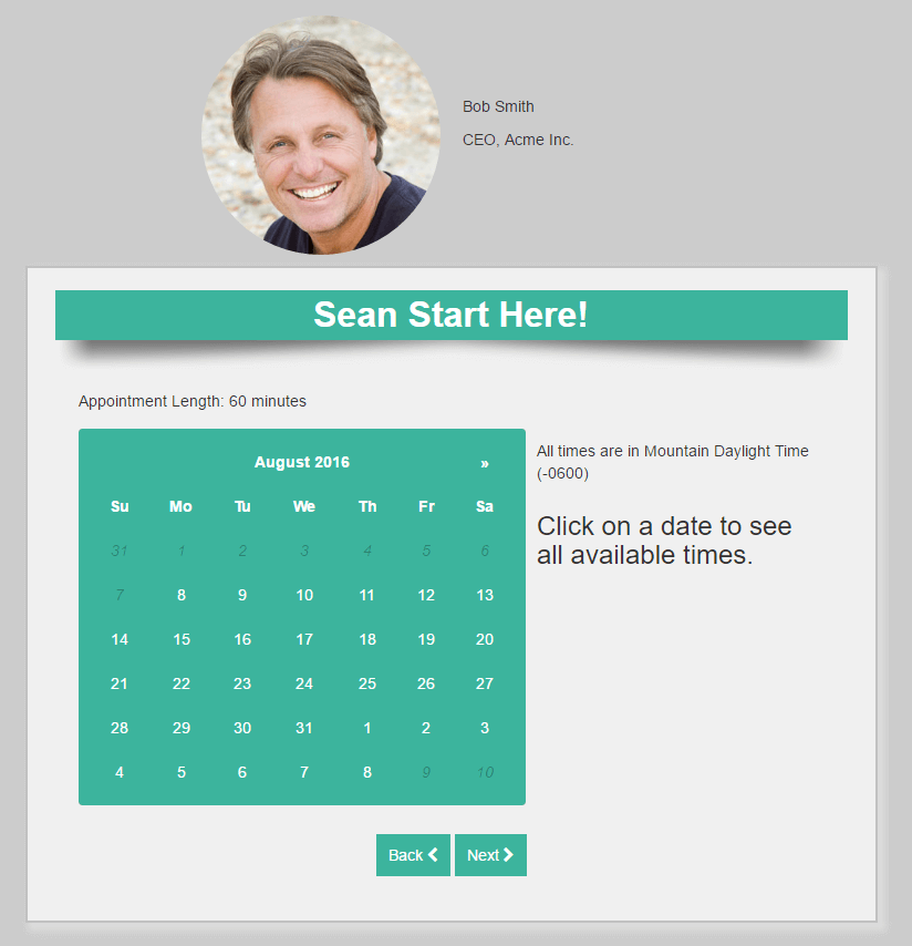 Appointment Scheduling Landing Page
